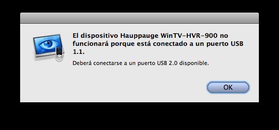 EyeTV: Hauppauge conectado a USB 1.1?
